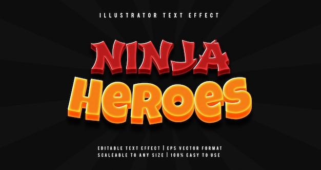 Ninja titolo del gioco stile testo effetto carattere