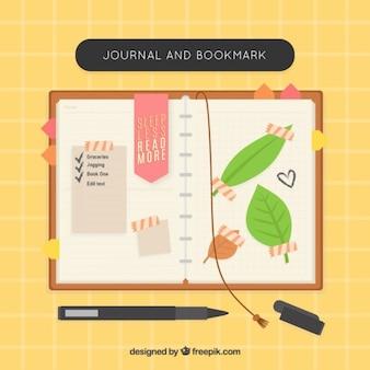 Nizza notebook con i segnalibri e le foglie