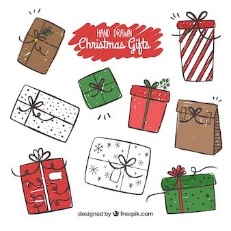 Nizza scatole natalizie disegnate a mano