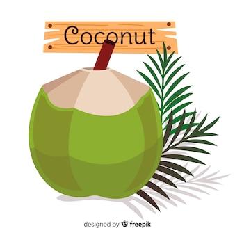 Noce di cocco disegnata a mano con sfondo di foglie