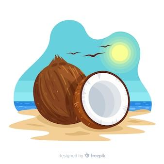 Noce di cocco disegnata a mano sullo sfondo spiaggia