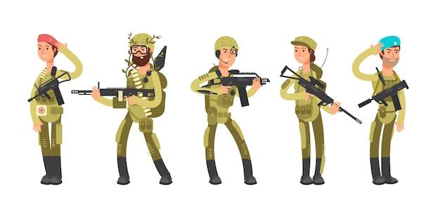 Noi soldati dell'esercito e della donna del fumetto dell'esercito in uniforme. illustrazione del concetto militare