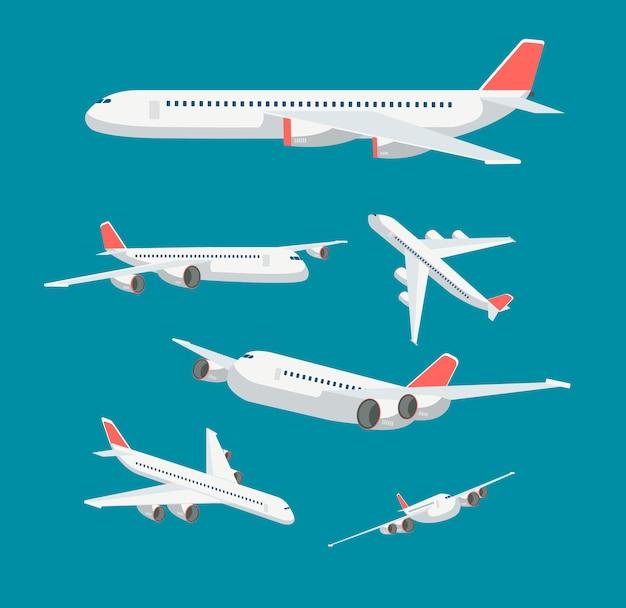 Noleggia l'aeroplano piatto in vari punti di vista. simboli di vettore di viaggio e aviazione civile degli aerei isolati