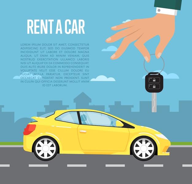 Noleggia un concept car con la mano che tiene la chiave automatica