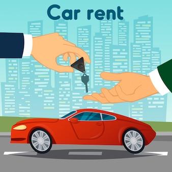 Noleggio auto. mano che passa le chiavi della macchina. concessionario di automobili. illustrazione vettoriale