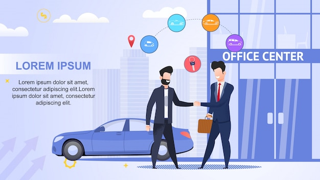 Noleggio auto. office center. contratto di leasing. aiuta road