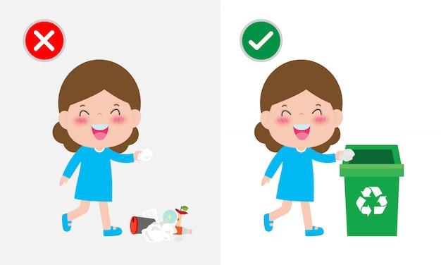 Non gettare mozziconi di rifiuti sul pavimento, sbagliato e giusto, personaggio femminile che ti dice il comportamento corretto da riciclare.