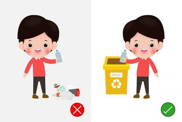 Non gettare mozziconi di rifiuti sul pavimento, sbagliato e giusto, personaggio maschile che ti dice il comportamento corretto da riciclare. illustrazione di sfondo