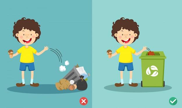 Non gettare rifiuti sul pavimento, giusto e sbagliato.