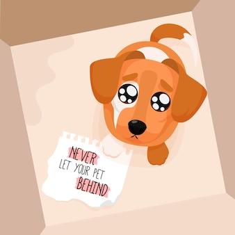 Non lasciare mai il tuo animale domestico dietro concetto con il cane