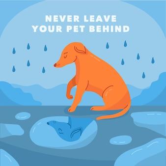 Non lasciare mai il tuo animale domestico dietro il concetto con il cane