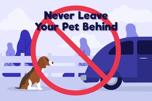 Non lasciare mai il tuo animale domestico dietro l'illustrazione del concetto con cane e auto