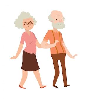 Nonna e nonno in un moderno design piatto.