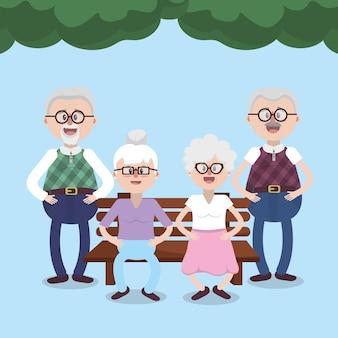 Nonni amici anziani