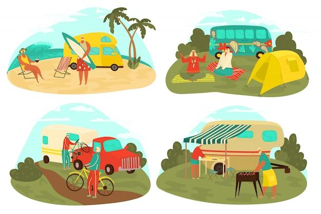 Nonni che viaggiano, turismo degli anziani, insieme di anziani di stile di vita attivo che fanno un'escursione in natura, in vacanza al mare, in bicicletta e sull'illustrazione di picnic.