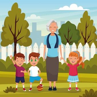 Nonni con nipoti nel parco