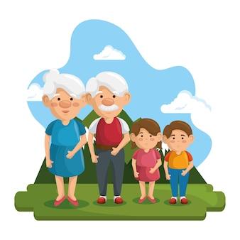 Nonni e nipoti al parco