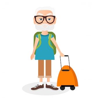 Nonno con un viaggio a pacco. viaggiare con lo zaino.