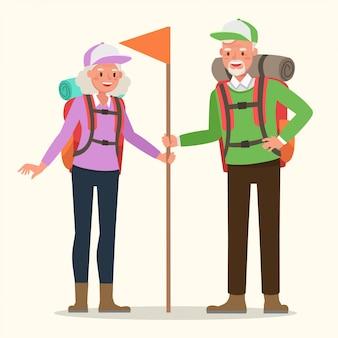 Nonno e nonna che vanno in campeggio.