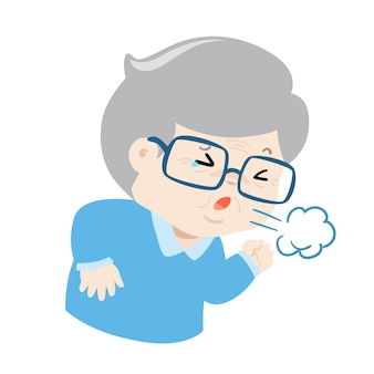 Nonno tossire duro causa influenza malattia vettoriale.