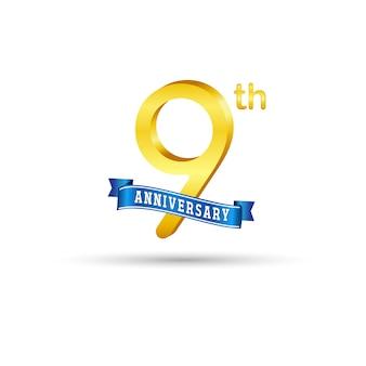Nono logo dorato anniversario con nastro blu isolato su sfondo bianco. logo 3d oro 9 ° anniversario