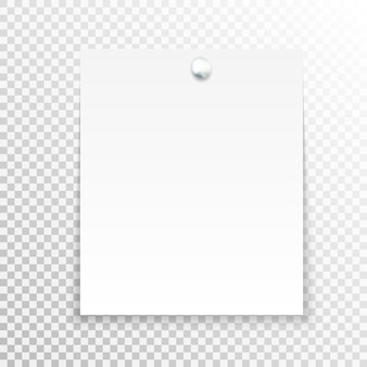 Nota adesiva bianca isolata su sfondo trasparente