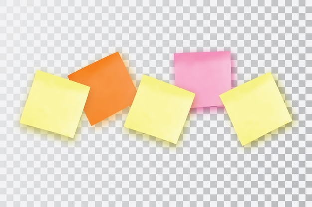 Nota adesiva colorata. modello per i tuoi progetti. cinque adesivi