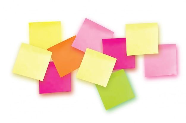Nota adesiva colorata. modello per i tuoi progetti. dieci adesivi
