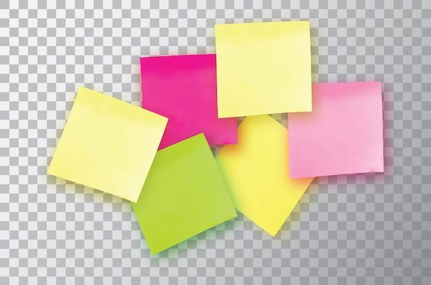 Nota adesiva colorata. modello per i tuoi progetti. sei adesivi