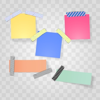 Nota adesiva e nastro adesivo washi realistici
