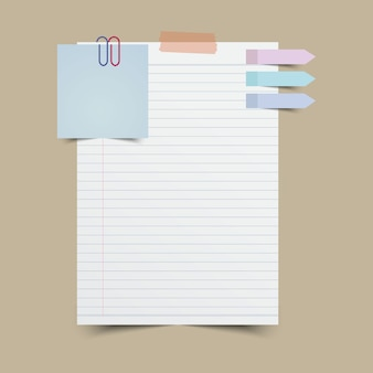 Nota di carta con nota adesiva e nastro. illustrazione di vettore.