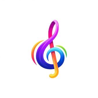 Nota il design del logo musicale