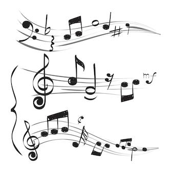 Nota musicale. la chiave tripla del personale nota le immagini disegnate a mano di scarabocchio di vettore muzician di concetto