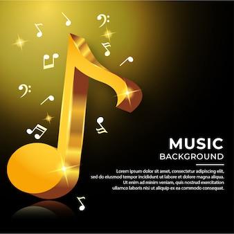 Note accordo musicale in stile 3d con colore dorato