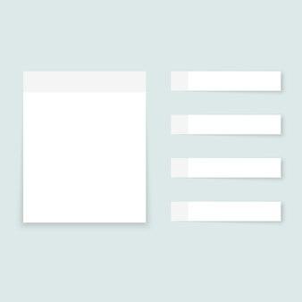 Note adesive bianche fogli di carta colorata