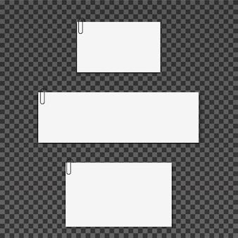 Note adesive bianche isolate su sfondo trasparente.