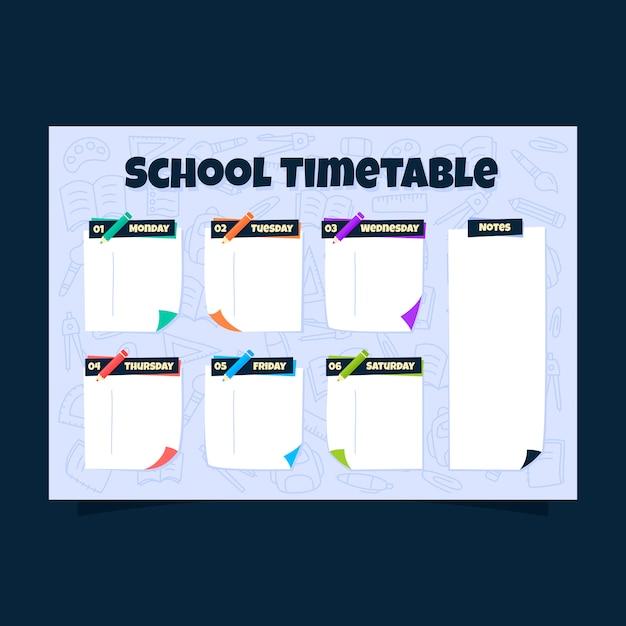 Note adesive orario scolastico con sfondo di cancelleria di doodle