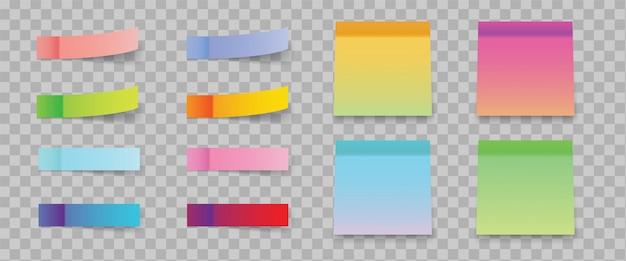 Note adesive sfumate multicolori e adesivi post nota isolati su sfondo trasparente.