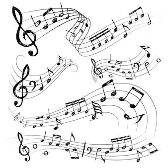 Note dell'orchestra. accumulazione delle note di conservatorio della chitarra del musicista dei simboli di suono o del segno