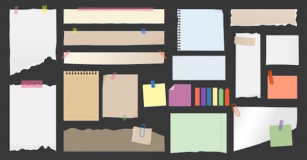 Note di carta, memo di pagina strappata su clip, note adesive