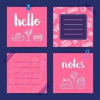 Note di modelli con icone di dolci in stile lineare e piatto