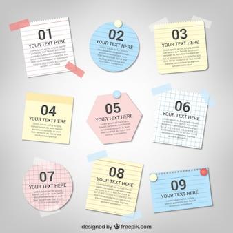Note di raccolta con nastro adesivo