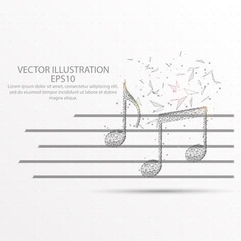 Note musicali a basso filo di poliestere.