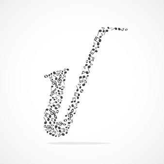Note musicali che formano un sassofono