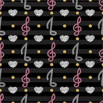 Note musicali con pattern di cuori