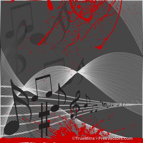 Note musicali su pentagramma con splatter scorre rosso