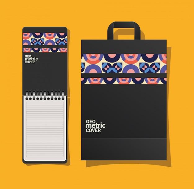 Notebook con copertina geometrica e borsa