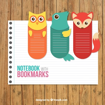 Notebook con i segnalibri animali