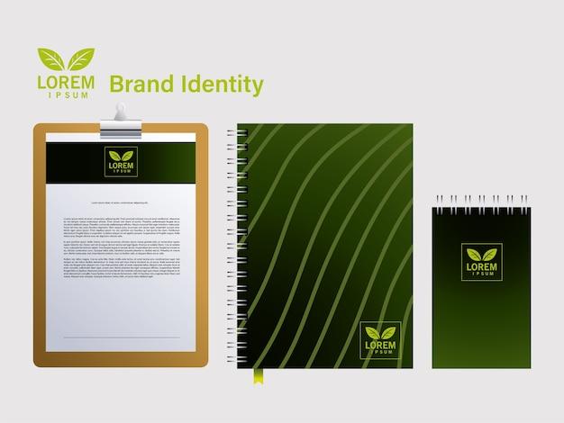 Notebook per l'identità del marchio nel design dell'illustrazione delle aziende
