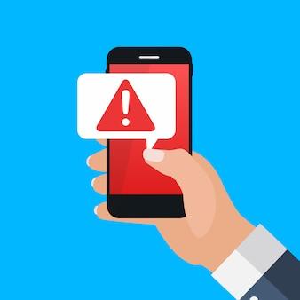 Notifica mobile del messaggio di avviso sul concetto dello schermo dello smartphone. illustrazione